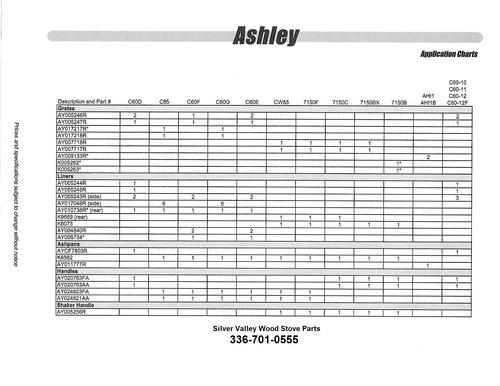 Ashley Stove Parts