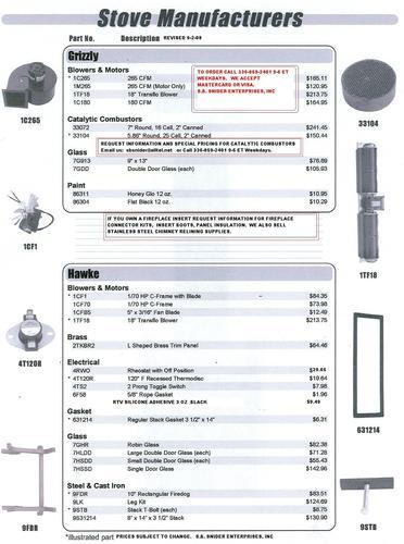 Grizzly And Hawke Stove Parts