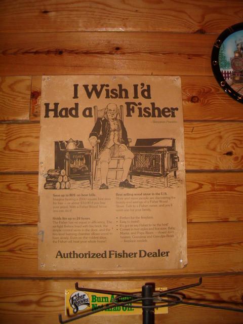 FISHER WOOD STOVE DEALER POSTER
